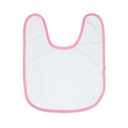 Bavoir éponge pour bébé bordure rose à personnaliser